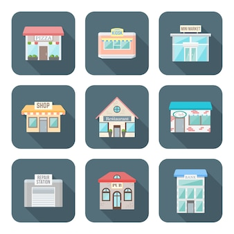 Kleur plat ontwerp verschillende gebouwen pictogrammen instellen lange schaduw