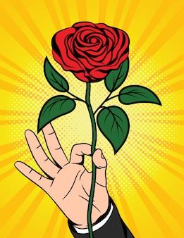 Kleur popart komische stijl illustratie van een mooie bloem over halftoonpunt