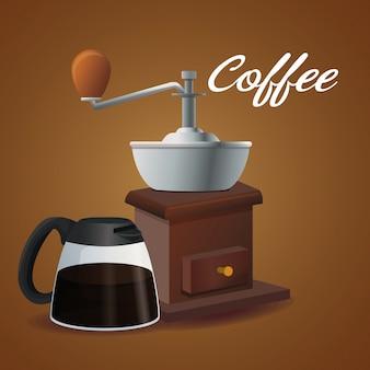 Kleur poster glazen pot koffie met handvat en slijpen met krukas