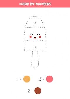 Kleur schattig kawaii-ijs op nummer.