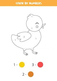 Kleur schattige cartoon eendje op nummer. educatief spel voor kinderen.