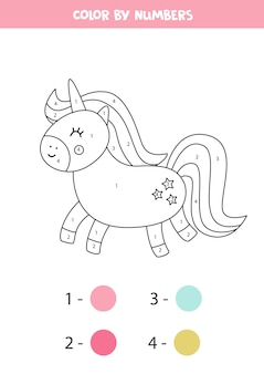 Kleur schattige cartoon eenhoorn op nummer. educatief rekenspel voor kinderen. kleurend werkblad voor kinderen.