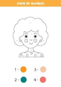 Kleur schattige cartoon meisje gezicht op nummer educatief wiskundig spel voor kinderen