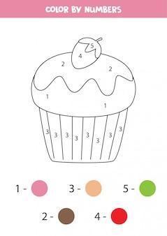 Kleur schattige cupcake op nummer.