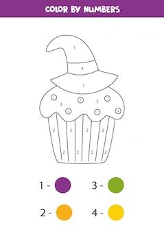 Kleur schattige halloween cupcake op nummer. math spel.