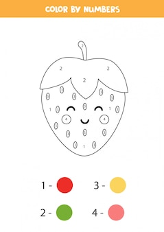 Kleur schattige kawaii aardbei op nummer. educatief spel voor kinderen. getallen leren. grappige kleurplaat.