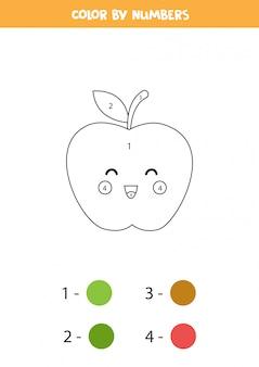 Kleur schattige kawaii-appel op nummer. educatief rekenspel voor kinderen. grappige kleurplaat. activiteitenpagina voor kleuters.