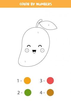 Kleur schattige kawaii mango op nummer. educatieve kleurplaat voor kleuters. getallen leren. thuisonderwijs afdrukbaar werkblad.