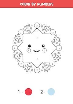 Kleur schattige kawaii sneeuwvlok op nummer. rekenspel voor kinderen.