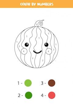 Kleur schattige kawaii watermeloen op nummer. educatief wiskundespel voor kinderen. grappige kleurplaat. afdrukbaar werkblad voor klas of thuis.