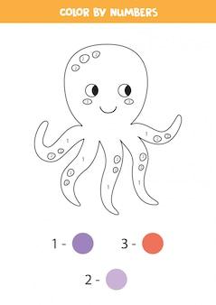 Kleur schattige octopus op nummer. afdrukbaar wiskundegame.