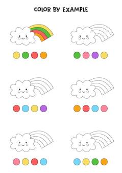 Kleur schattige wolken met regenbogen. educatieve kleurplaat voor kleuters.
