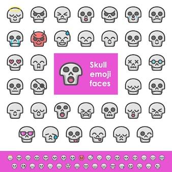 Kleur schedel emoji gezichten