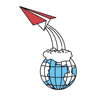Kleur sectoren silhouet van earth globe en papieren vliegtuig vliegen