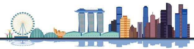 Kleur singapore skyline van de stad