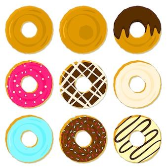 Kleur smakelijke gefrituurde donuts met verschillende topping en strooisel