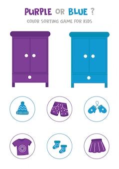 Kleur sorteren spel voor kleuters. paars of roze.