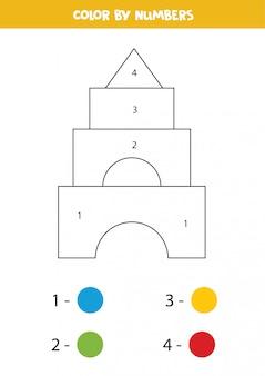 Kleur speelgoed piramide op nummer.