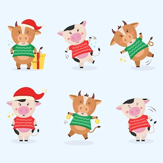 Kleur stieren chinees nieuwjaar symbool dieren met hoorns koe dier vakantie stripfiguur