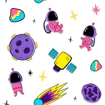 Kleur vector naadloze patroon met elementen van de ruimte
