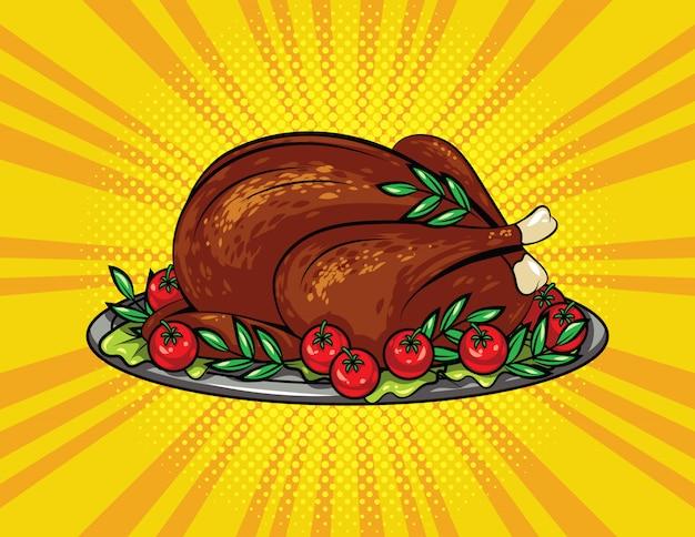 Kleur vector pop-art stijl illustratie voor thanksgiving. geroosterde kalkoen op een dienblad.