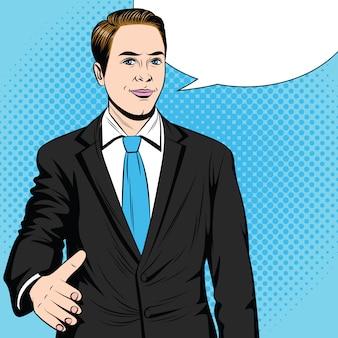 Kleur vector pop-art stijl illustratie. zakenman steekt zijn hand uit.