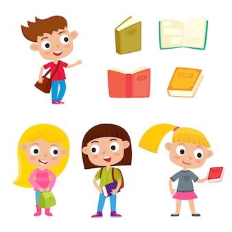 Kleur vector set mooie meisjes staan met boeken, tas en rugzak. cartoon leerlingen geïsoleerd op wit