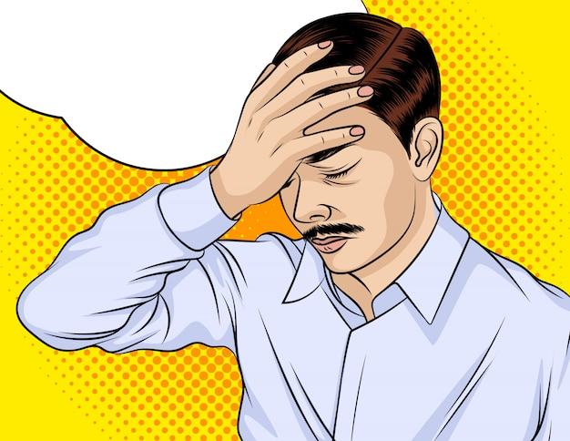 Kleur vectorillustratie. de man is overstuur. de man is depressief. een man heeft hoofdpijn