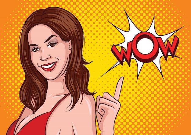 Kleur vectorillustratie van een pop-artstijl. de mooie jonge vrouw in rode jurk