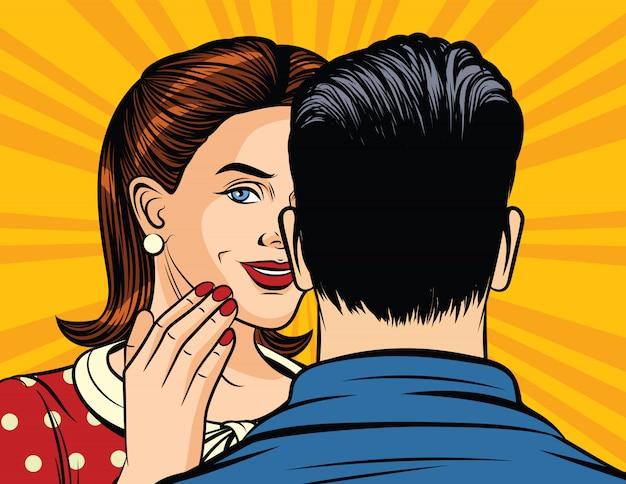 Kleur vectorillustratie van pop-artstijlmeisje die een geheim aan een man fluisteren