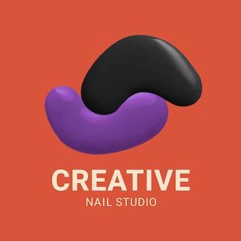 Kleur verf bewerkbare logo vector voor creatieve nagelstudio's