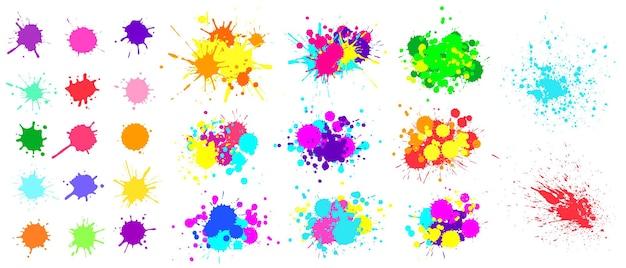 Kleur verfspatten. spray verf vlek element. kleurrijke inktvlekken knoeien. aquarel vlekken in ruwe en verf spatten collectie, vloeibare vlekken set geïsoleerd op witte vectorillustratie