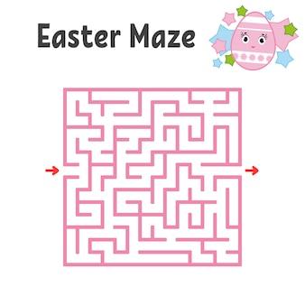 Kleur vierkant labyrint. werkbladen voor kinderen. activiteitenpagina. spelpuzzel voor kinderen.