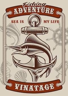 Kleur vintage poster over het nautische thema met marlijn op witte achtergrond