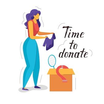 Kleur vlakke stijl illustratie van donatie. vrouwelijke kleding en kartonnen dozen vol met spullen.