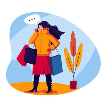Kleur vlakke stijl illustratie. winkelend meisje dat op de telefoon spreekt. modieuze jonge vrouw komt met tassen in haar handen. het meisje in het winkelcentrum praten aan de telefoon en doet aankopen