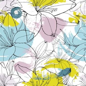 Kleur vlekken lelie naadloze patroon