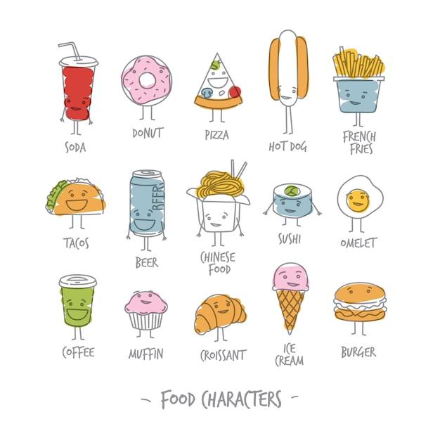 Kleur voedselkarakters