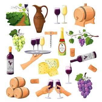 Kleur wijn icons set