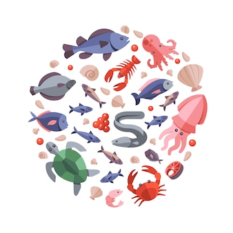 Kleur zee voedsel krab en slak, badge van ronde vorm oester, tonijn, schildpad en kanker illustratie