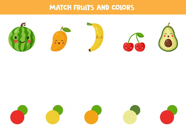 Kleurafstemmingsspel met schattige kawaii-vruchten.