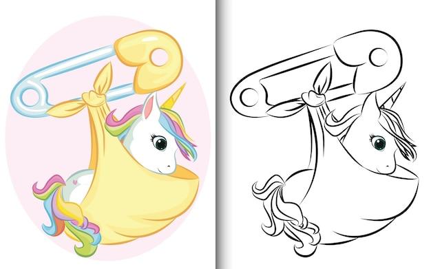 Kleurboek baby eenhoorn met speld. voor voorschoolse educatie kleuterschool en kinderen en kinderen