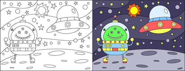 Kleurboek cartoon alien