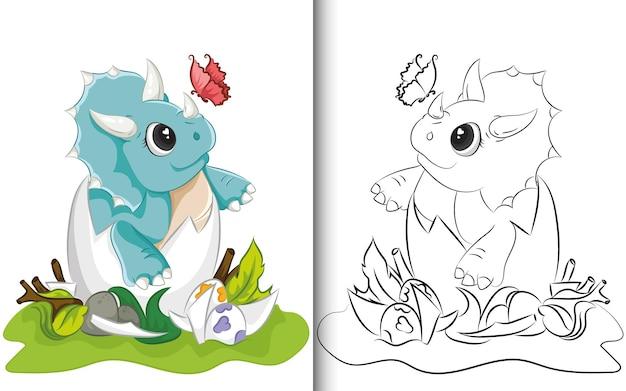 Kleurboek cute design van triceratops dinosaurus