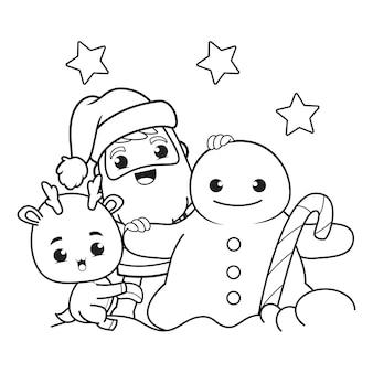 Kleurboek kerstdag met de kerstman en schattige herten