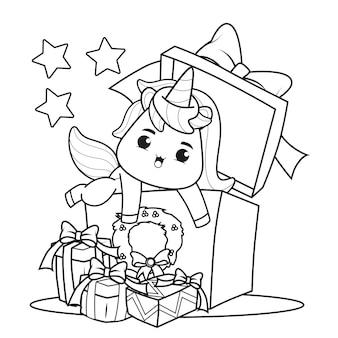 Kleurboek kerstdag met schattige eenhoorn
