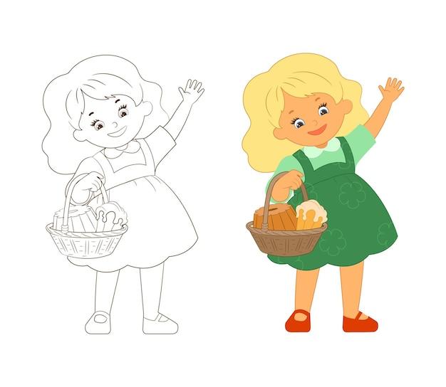 Kleurboek klein schattig meisje met een mand met zoete gebakjes die met een vriendelijke hand zwaaien