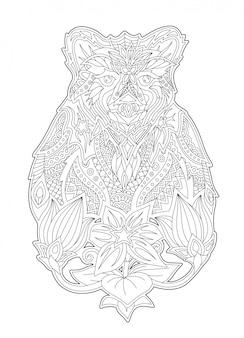 Kleurboek kunst met cartoon beer en bloemen