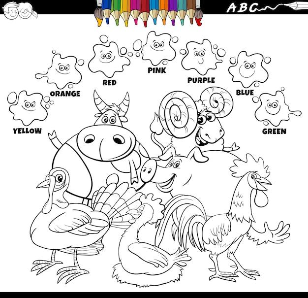 Kleurboek met basiskleuren met boerderijdieren
