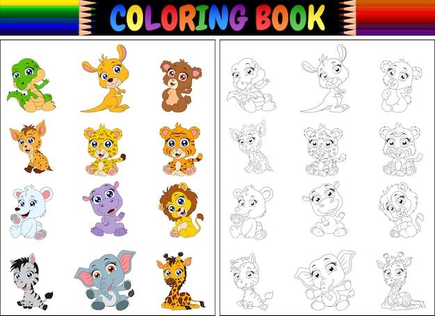 Kleurboek met cartoon wilde dieren collectie